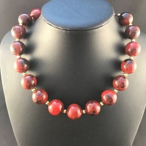 Vintage brown marbled bead necklace